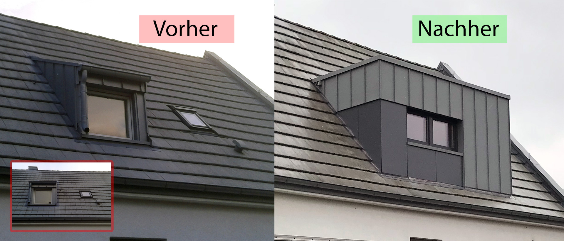 Aus Alt mach neu, wieder erfolgreich ein Dach verschönert.